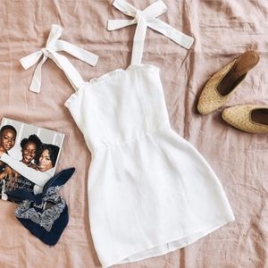 mini dress with bow straps tan